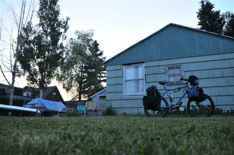 Camped in the garden. Anchorage, 2am.