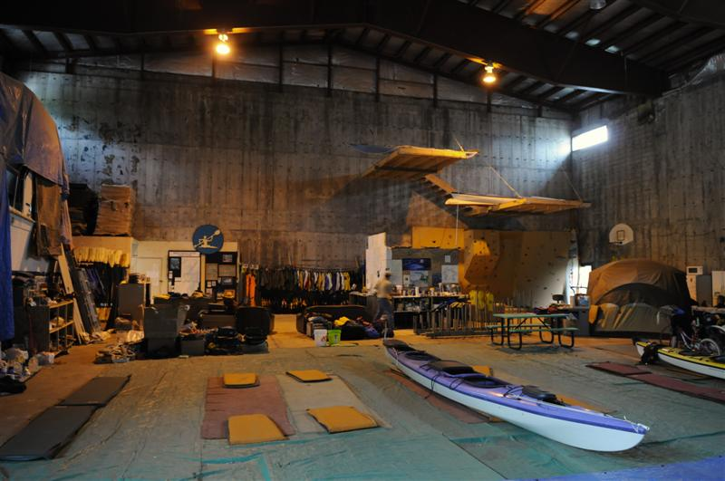 It's a kayak haven. Here's our home for the night - the kayak centre, housed in a cavernous ex military gym. The next day, we kayaked round the entrace to Price William Sound, where we encountered a nosey seal.