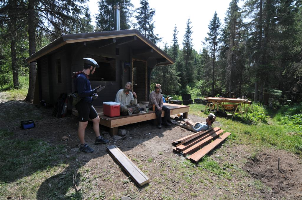 And cabins you could book in advance. These carpenters were fixing a few up - a nice summer job...