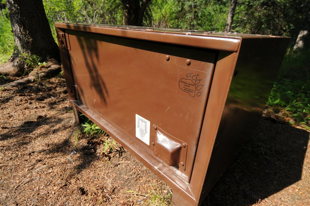 There were camping spots along the way, many with bear-proof storage boxes.