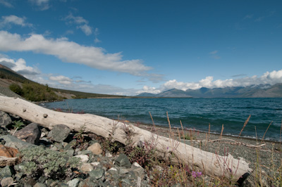 Kluane Lake, the largest in the Yukon.