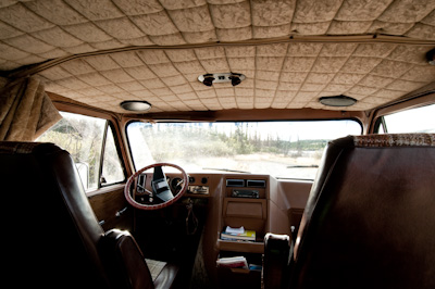 We admired its all brown interior, including thick carpetting and ever-so-soft roof lining reminiscent of a first class plane. This was travelling in style.
