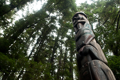 Totem poles, carved from spruce, are public records of identity and clan pride - a record of ancestry, or of a legend or historic event, or a memorial.