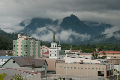 St Michael's Cathedral, a replica of the original Russian Orthodox Church that was destroyed in a fire, gives Sitka a distinctive skyline.