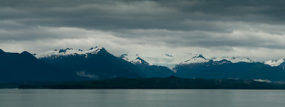 Storm shrouded glacier views on the Alaska Marine Highway.