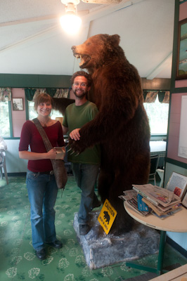Jay and Michelle, a mapmaker and a tree planter, kindly agreed to pose by this grizzly for a sense of scale. They asked me if I talk to myself while I ride. I had to think a little. No, no conversations, though I do make the odd comment.