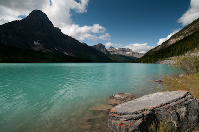 The glaciated waters of Waterfowl Lake.