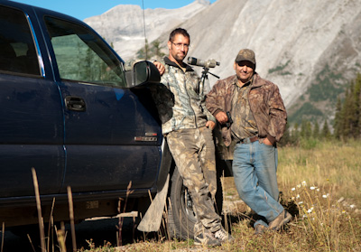 At the foot of Elk Pass, Hunters Mario and Mike show me through their scope a magnificent Rocky Mountain goat, it's back arched proudly as it stands on a rocky outcrop. Luckily, it's too far for them to get...