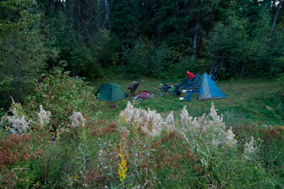 Camping out for the night by Elk Creek.