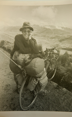 I've always admired co founder Greg XXX's black and white portraits of touring cyclists, so was delighted to be photographed by him. Here he is on his bike back in 1973, when he and a group of friends were amongst the first to ride from Prudoe Bay to Tierra del Fuego, Argentina. The journey took two years and was covered by National Geographic.