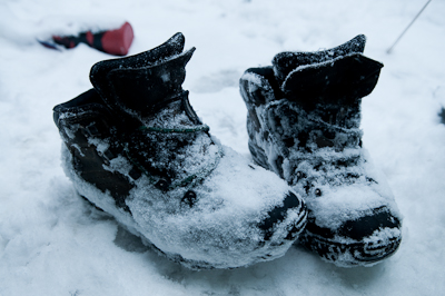 A cold night ensued. Here's my boots in the morning, which had turned into ice blocks.
