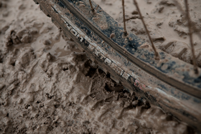 Except that the snow and drizzle that was now falling turned the clay-based surface to a tacky mush that sucked on our wheels - gumball, the locals call it.