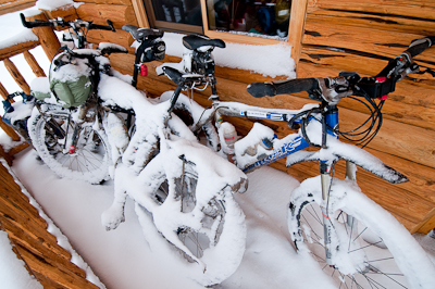 The bikes didn't have the luxury of a warm heater. We had to pour hot water over them to free up gears and brakes.