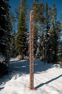 This marker had increments for 11 feet of snow...