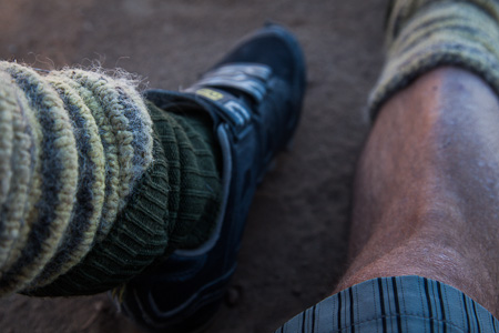 Wooly leg warmers, thick socks and shorts. My favourite combo.