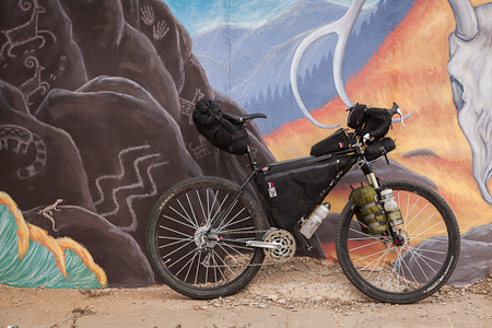 Tim's Raleigh XXIX, meticulously garbed in bikepacking gear.