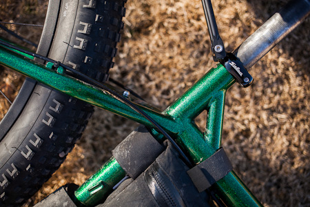 As it happens, the Krampus has fender eyelets but no rear rack eyelets. Salsa's Rack-Lock is a neat solution. Although on the pricey side ($30), it's nicely crafted, and the only such collar I could find in the required 30.0 size.