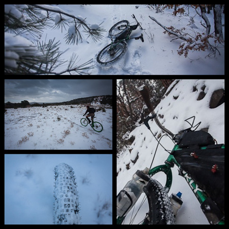 Snow-friendly Knards proved to be well suited to the powdery conditions. We carved our way down the snowy trails, spraying snow-flecks in our wake.