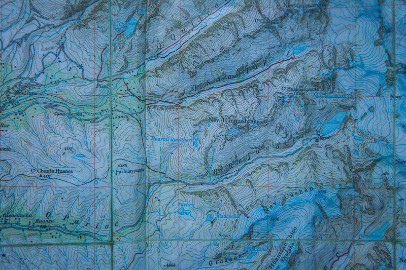 You can see them clearly on this topo map too. Reaching out like the fingers of a hand, each quebrada leads to a lake and a massive glacial wall.