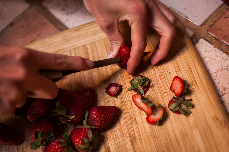 Chop strawberries. Done.