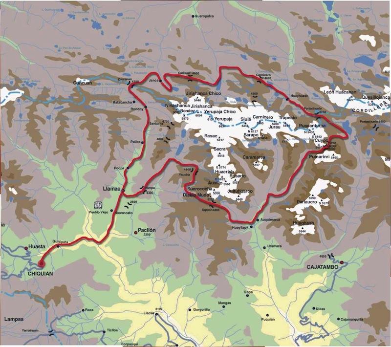 Mapa del Huayhuash